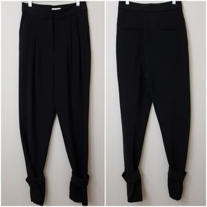 H&M Black Pleated Trouser Pants With Tab Ankle 8